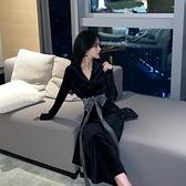 長袖洋裝 名媛氣質夜店裝V領交叉長袖系帶收腰顯瘦中長款絲絨大擺連身裙女  店慶降價