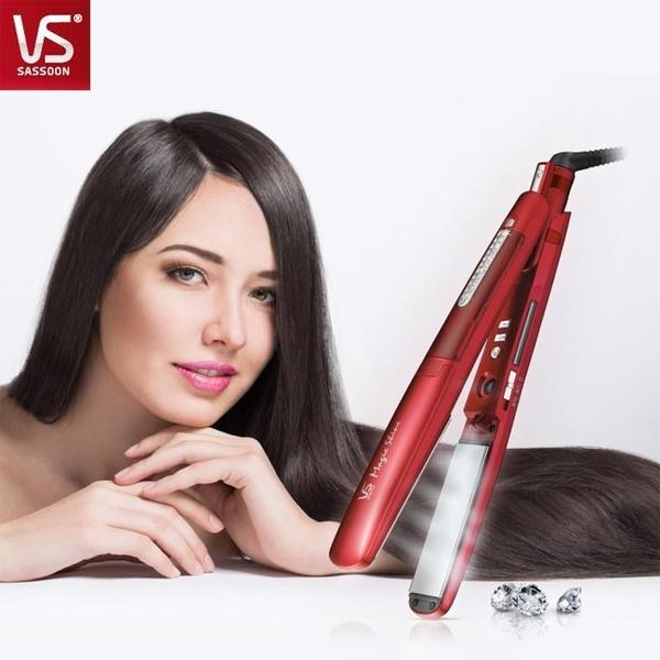 【VS 沙宣】【加贈沙宣吹風機】38mm晶漾魔力紅鈦金蒸氣負離子直髮夾 (VSS-9500W)