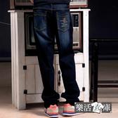 牛仔褲★MIT騎士刺繡刷色伸縮中直筒牛仔褲(深藍)● 樂活衣庫【P672-1】