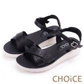 CHOiCE 親膚舒適 皮革幾何簍空交叉厚底涼鞋-黑色