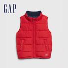 Gap男幼童 簡約風格立領絎縫式棉背心 593061-紅色
