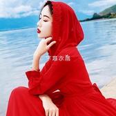 青海湖旅拍沙漠長裙紅色連帽大擺雪紡仙女連衣裙海邊度假沙灘裙 快速出貨