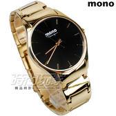 mono 馬鞭草系列 簡約圓錶 藍寶石水晶 不銹鋼帶 金色電鍍x黑色 男錶 3199G金黑釘大