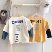 2020春秋裝新款男童字母印花假兩件長袖T恤兒童正韓洋氣上衣【免運】