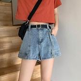 小眾直筒工裝牛仔褲超短褲女夏季2020年新款顯瘦高腰寬管褲熱褲潮 滿天星