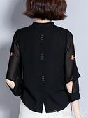媽媽衣服中袖上衣女七分袖2021春夏裝新款中年媽媽洋氣寬鬆遮肚子雪紡小衫