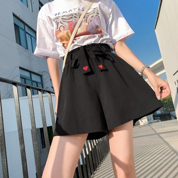 大尺碼女裝大碼女裝胖mm韓版女學生黑色寬松闊腿刺繡短松緊腰休閑褲200斤夏