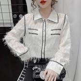 現貨寄出 秋冬新款時尚撞色雪紡襯衫女設計感小眾百搭流蘇打底衫上衣潮
