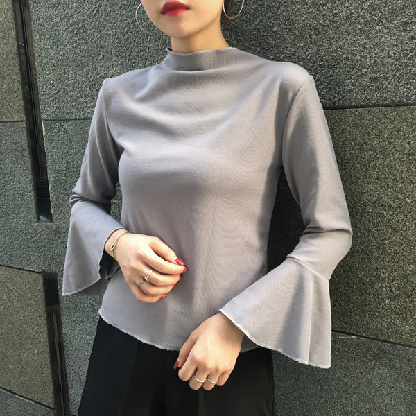 (全館免運)DE SHOP~喇叭袖口顯瘦上衣(YT-0707)