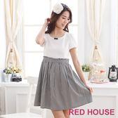 【RED HOUSE-蕾赫斯】甜美高腰千鳥格洋裝-網路獨家款 滿2000元現抵250元
