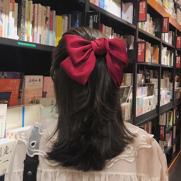 紅色大蝴蝶結發夾後腦勺lolita發飾彈簧夾發繩日系jk發卡頭飾夾子 喵小姐