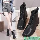 馬丁靴 新款秋冬單靴百搭機車靴短靴女方頭低跟系帶學生短筒馬丁靴女 麗人印象 免運