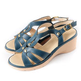 DeSire 百搭素面楔型涼鞋  -深藍