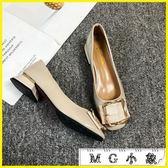 粗跟鞋 粗跟單鞋韓版方頭百搭中跟復古奶奶鞋
