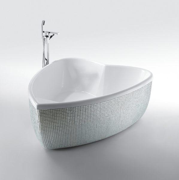 【麗室衛浴】BATHTUB WORD  YG3360M  銀箔馬賽克心型浴缸   1700*1380*600mm