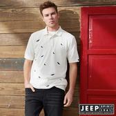 【JEEP】網路限定 老鷹圖騰滿版刺繡短袖POLO衫 (白)