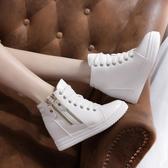 秋靴子女短靴內增高女鞋短筒坡跟單靴加絨時裝靴百搭厚底鞋