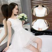 甜美公主裙成人歐根紗高腰收腰蓬蓬洋裝裙小個子洋裝女夏禮服超短裙TA9506【雅居屋】