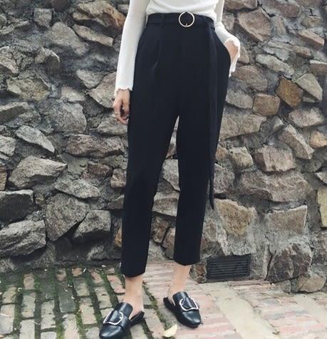 EASON SHOP(GU5146)高腰圓環腰帶寬鬆小腳哈倫褲女西裝褲黑色休閒九分褲直筒褲上班OL工作褲黑色