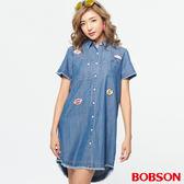 BOBSON 女款貼布標天絲棉襯衫 (27130-53)