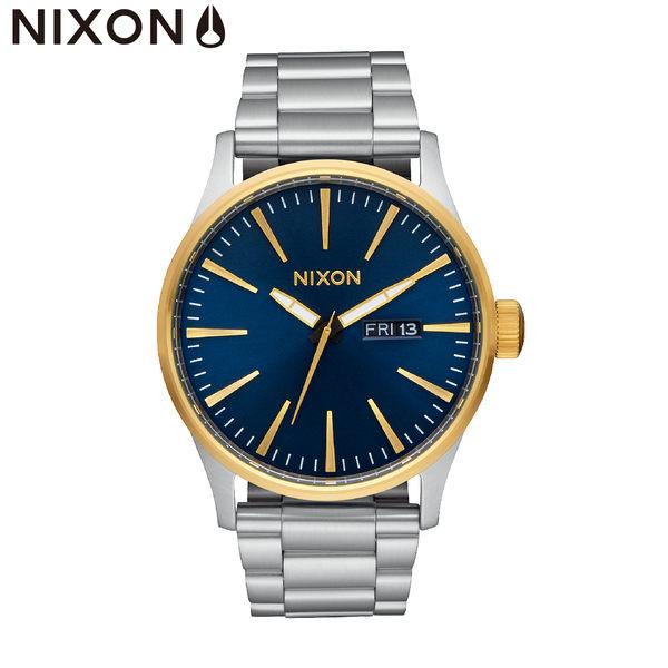 NIXON手錶 原廠總代理A356-1922 THE  Sentry SS 銀藍 潮流時尚鋼錶帶 男女 運動 生日情人節禮物