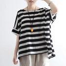 T恤-亞麻棉麻寬鬆大碼蝙蝠袖圓領上衣條紋/設計家