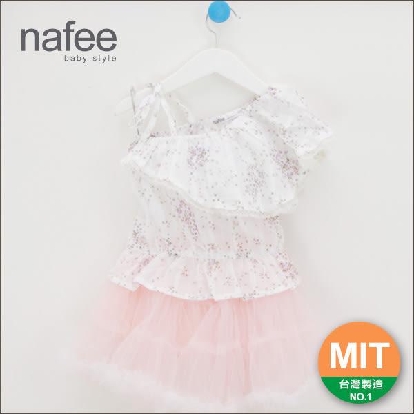 純棉(白色/桃紅色)小花斜肩大荷葉領綁帶造型設計鬆緊下襬上衣