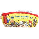 〔小禮堂〕Sanrio大集合 棉質拉鍊筆袋《黃.房間》Sanrio70年代人物系列 4548387-85621