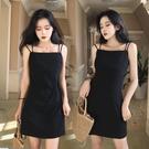洋裝 大碼遮肚子顯瘦連身裙女夏裝性感洋氣減齡黑色吊帶裙-Ballet朵朵