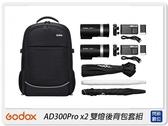 Godox 神牛 AD300 PRO x2 雙燈後背包套組 雙燈 閃光燈 外拍燈(AD300PRO,公司貨)
