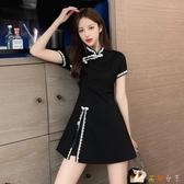 套裝裙子洋氣御姐女神范改良版旗袍兩件套裝連身裙女夏裝小黑裙 KP1592【花貓女王】