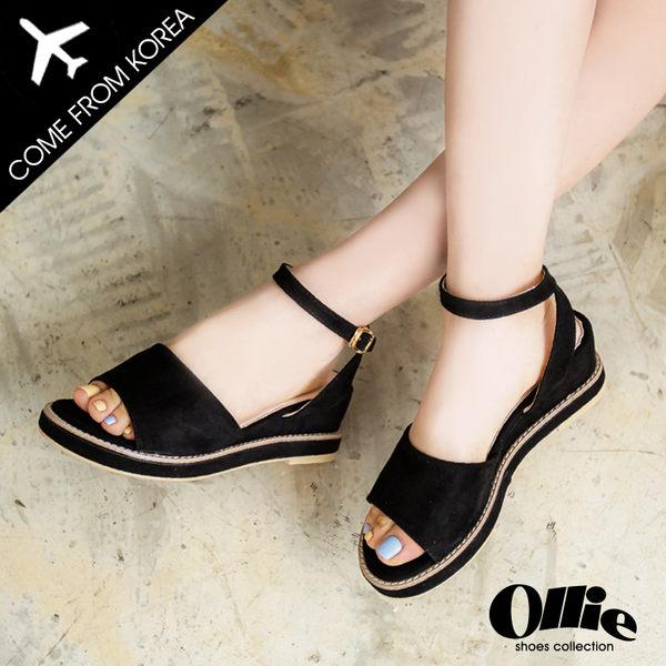 現貨 韓國空運 舒適百搭 好穿好走 絨質繞踝 後交叉 扣帶 楔型跟 涼鞋 【F720529】 3色 ollie