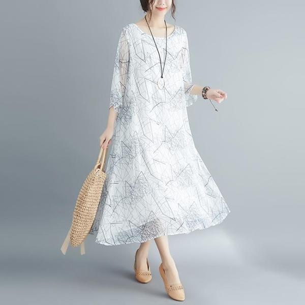 洋裝 連身裙 洋氣大碼女裝2020夏季新款印花200斤胖妹妹減齡中長款洋裝顯瘦