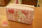 Hello Kitty 凱蒂貓 手提大容量筆袋 收納袋 方格粉 970907