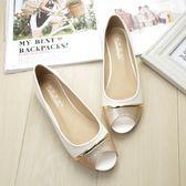 魚口鞋 皮質平跟特大碼平底露趾單鞋 巴黎春天