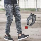 縮口褲 洗舊感灰白刷色束口牛仔褲【N99...