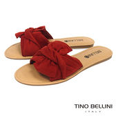 Tino Bellini 雅緻層次領結平底涼拖鞋_ 紅 F83004