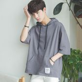 男連帽情侶短袖T恤7七分袖衛衣學生韓版5個性bf風潮流寬鬆ulzzang   mandyc衣間
