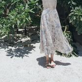 Queen Shop【03020707】柔和色潑墨設計百褶長裙*現+預*