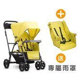 【贈雨罩】Joovy - Caboose Ultralight Graphite 新款輕量級雙人推車 - 黃+第二座椅