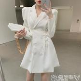 雙11西裝連身裙收腰雙排扣系帶氣質長袖西裝領連身裙秋裝法式A字中長款裙子女潮