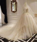 香檳色頭紗女軟紗新娘結婚森系頭紗
