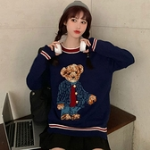 出清288 韓國風小熊針織馬甲針織背心寬鬆學院風毛衣長袖上衣