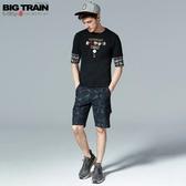 BigTrain吸濕快乾黑灰花草短褲-男-黑色-S-3L