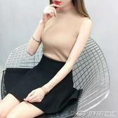 韓版半高領純色短款外穿針織背心女修身無袖上衣打底衫秋   潮流前線