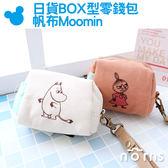 Norns【日貨BOX型零錢包 帆布Moomin】正版授權 嚕嚕米 小不點 日本雜貨 皮革手腕帶 收納袋  慕敏家族