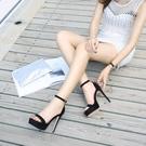 夜店涼鞋女細跟露趾防水臺高跟2021夏性感恨天高T臺涼鞋模特走秀 果果輕時尚