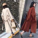 長版大衣外套風衣M-4XL中大尺碼過膝長款系帶毛呢外套2F044.9067依品國際