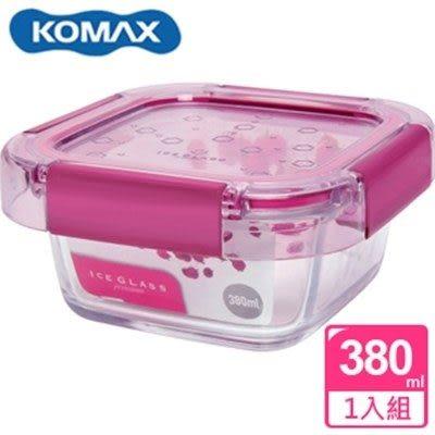 新一代 KOMAX 冰鑽方形強化玻璃保鮮盒 粉 380ml(59850)【AE02266】