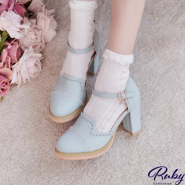 【NG現貨】交叉車線鏤空點點繫踝粗跟鞋-Ruby s 露比午茶